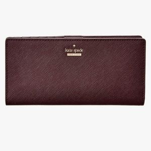 Kate Spade Cameron Street Large Stacey Wallet New Mahogany Saffiano Leather